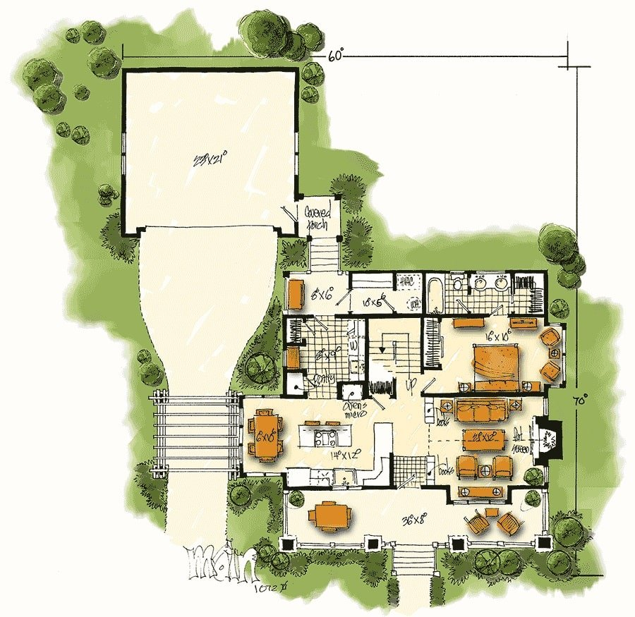Main level floor plan of a 3-bedroom two-story country home with a wide front porch, living room, shared dining and kitchen, utility room, a primary suite, and a back porch that connects the garage to the main house.