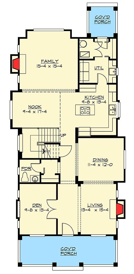 Main level floor plan of a 3-bedroom two-story craftsman home with living room, a den, formal dining room, kitchen with nook, family room, and a utility that opens to the rear covered porch.