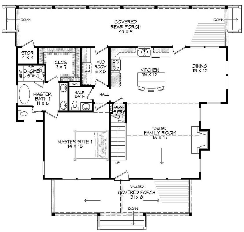 Main level floor plan of a 3-bedroom two-story Rivers Edge home with a covered porch, vaulted family room, shared dining and kitchen, primary suite, mudroom, and a rear porch with ample storage space.