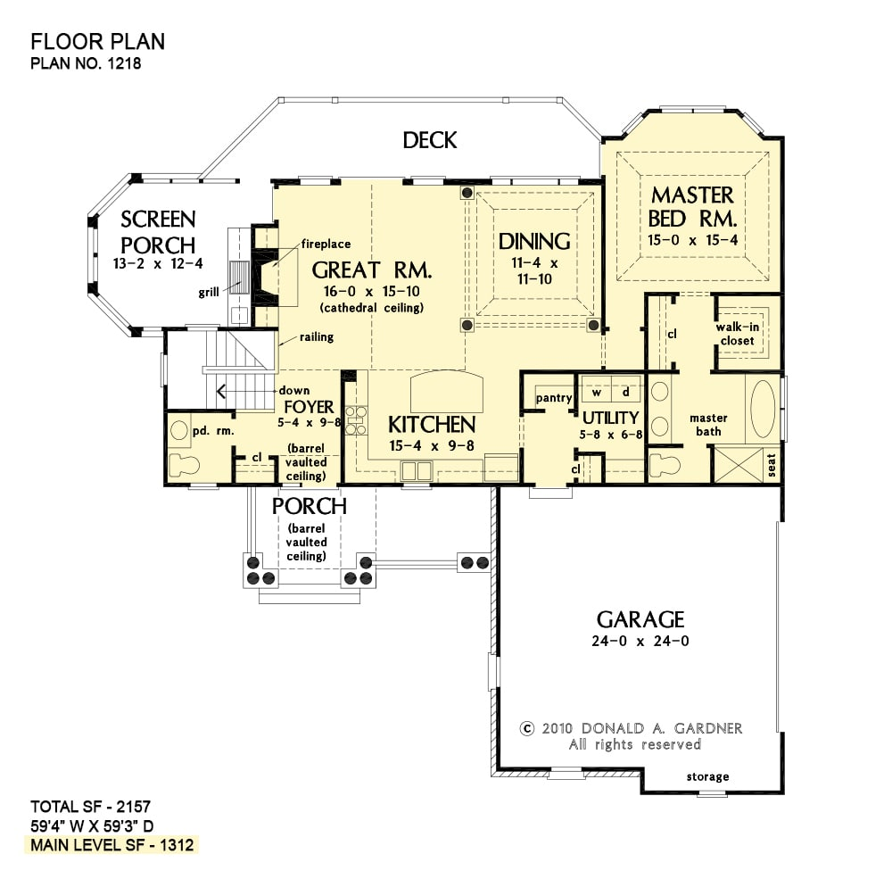 Main level floor plan of a 3-bedroom two-story The Whitcomb home with front porch, foyer, kitchen, dining area, primary bedroom, utility, and great room that opens out to the deck and screened porch.