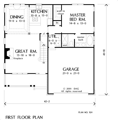 Main level floor plan of a 3-bedroom two-story The Wycliffe home with great room, dining, kitchen, primary suite, and utility room that opens to the garage.