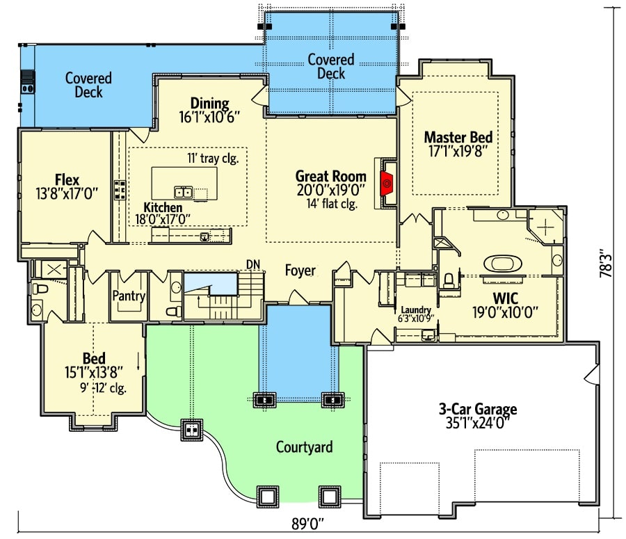 Main level floor plan of a single-story New American home with a courtyard, great room, kitchen, dining area that opens to the covered deck, flex room, laundry, and two bedrooms including the primary suite.