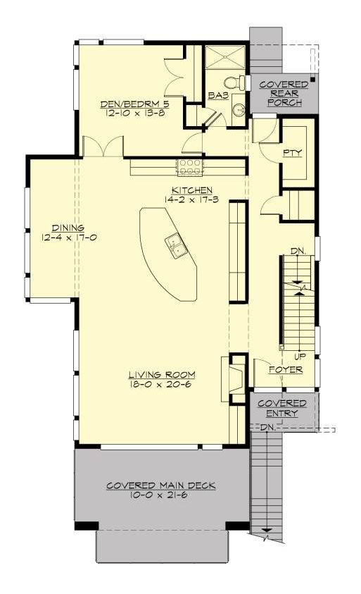 Main level floor plan of a 4-bedroom three-story Altair contemporary style home with covered deck and entry, living room, dining area, kitchen, and a flexible den or bedroom.