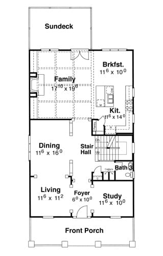 Main level floor plan of a 4-bedroom two-story Kensington II - A home with a large front porch, study, shared living and dining, kitchen with breakfast nook, and a coffered family room that opens to the sundeck.