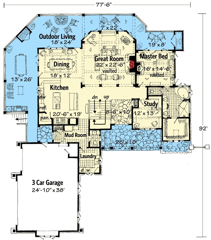 Main level floor plan of a 4-bedroom two-story mountain style home with great room, study, vaulted primary bedroom, laundry, mudroom, kitchen, and dining area that opens to the outdoor living.