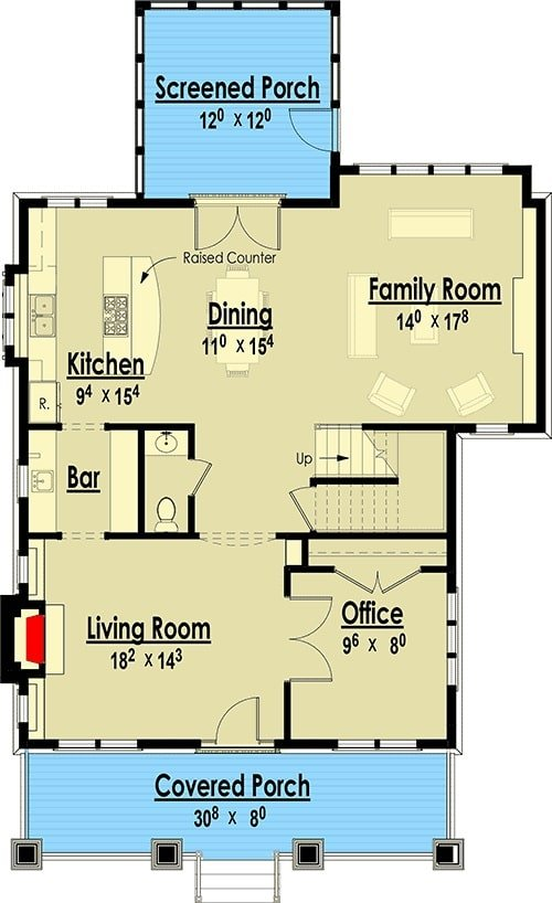 Main level floor plan of a 4-bedroom two-story storybook bungalow home with covered front porch, living room, office, family room, and shared dining and kitchen that opens to the screened porch.