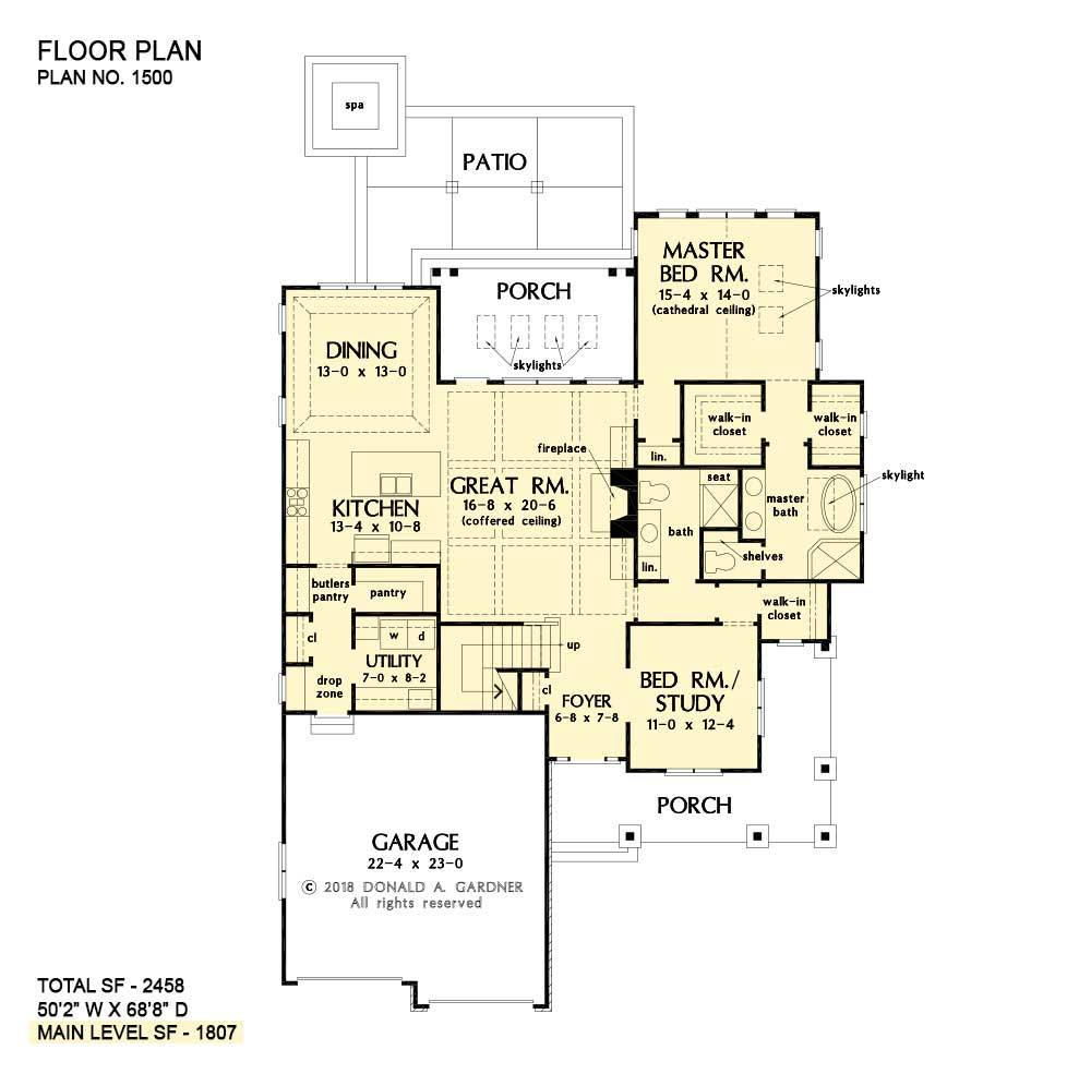 Main level floor plan of a 4-bedroom two-story The Agatha home with front and back porches, rear patio with spa, coffered great room, shared dining and kitchen, utility, primary suite, and a versatile bedroom/study.
