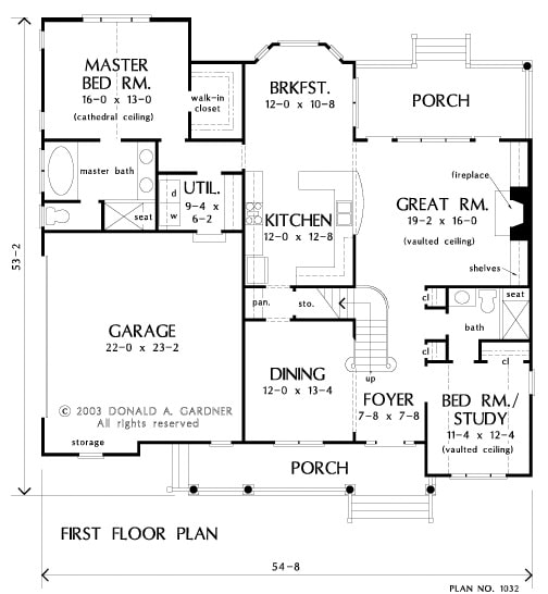 Main level floor plan of a 4-bedroom two-story The Derbyville home with a great room, formal dining room, kitchen with breakfast nook, a primary suite, and flexible space that can be used as a study or a bedroom.