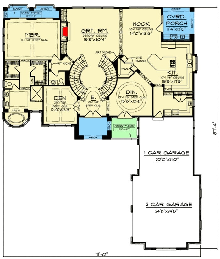 Main level floor plan of a 4-bedroom two-story Tuscan home with a courtyard, a rotunda foyer, utility, great room, a den, primary suite, formal dining room, and a kitchen with a walk-in pantry and a breakfast nook that opens to the covered porch.