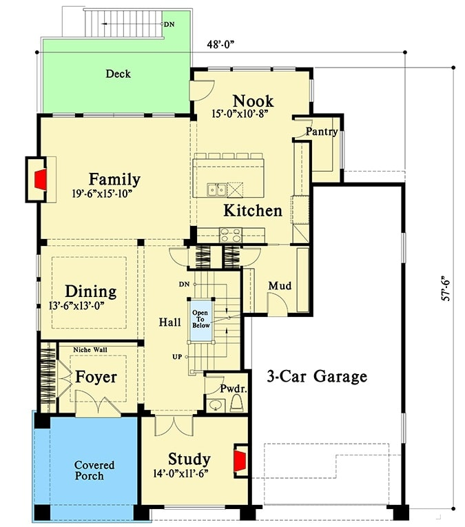Main level floor plan of a 5-bedroom two-story new American bungalow with a covered front porch, study, foyer, formal dining room, family room, mudroom, and kitchen with breakfast nook that opens to the rear deck.