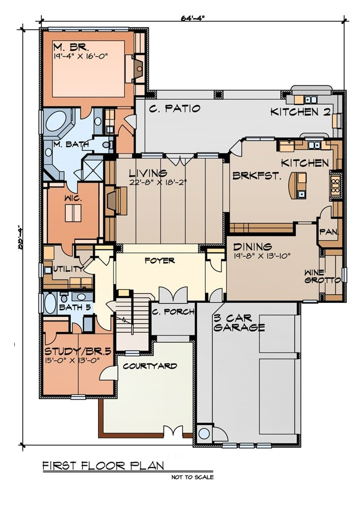 Main level floor plan of a 5-bedroom two-story The Veneto home with a courtyard, covered porches, study/bedroom, utility, primary suite, living room, dining area, and kitchen with a breakfast nook that opens to the outdoor kitchen.