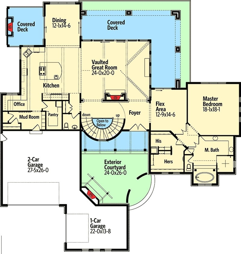 Main level floor plan of a 5-bedroom two-story Tuscan villa with exterior courtyard, vaulted great room, primary suite, kitchen, and dining area that opens to the covered deck.