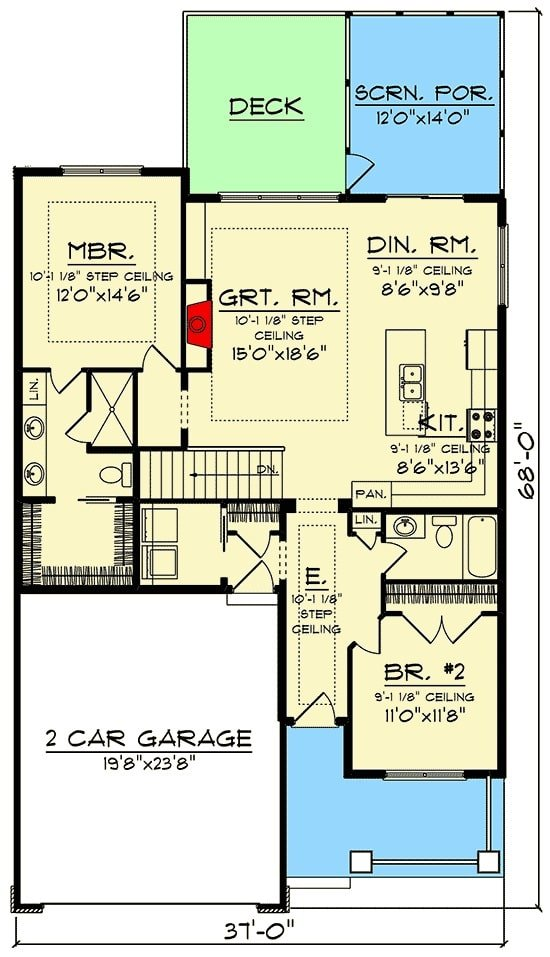 Main level floor plan of a single-story 3-bedroom craftsman home with 2-car garage, great room, shared kitchen and dining area, screened porch, and two bedrooms including the primary suite.