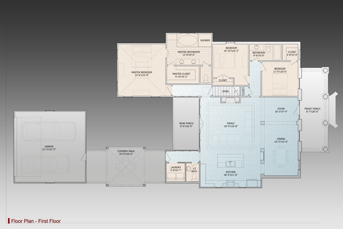 Main level floor plan of a single-story 3-bedroom Lake Drive country style home with front porch, formal dining room, family room that opens to the rear porch, kitchen, laundry, and three bedrooms including the primary suite.