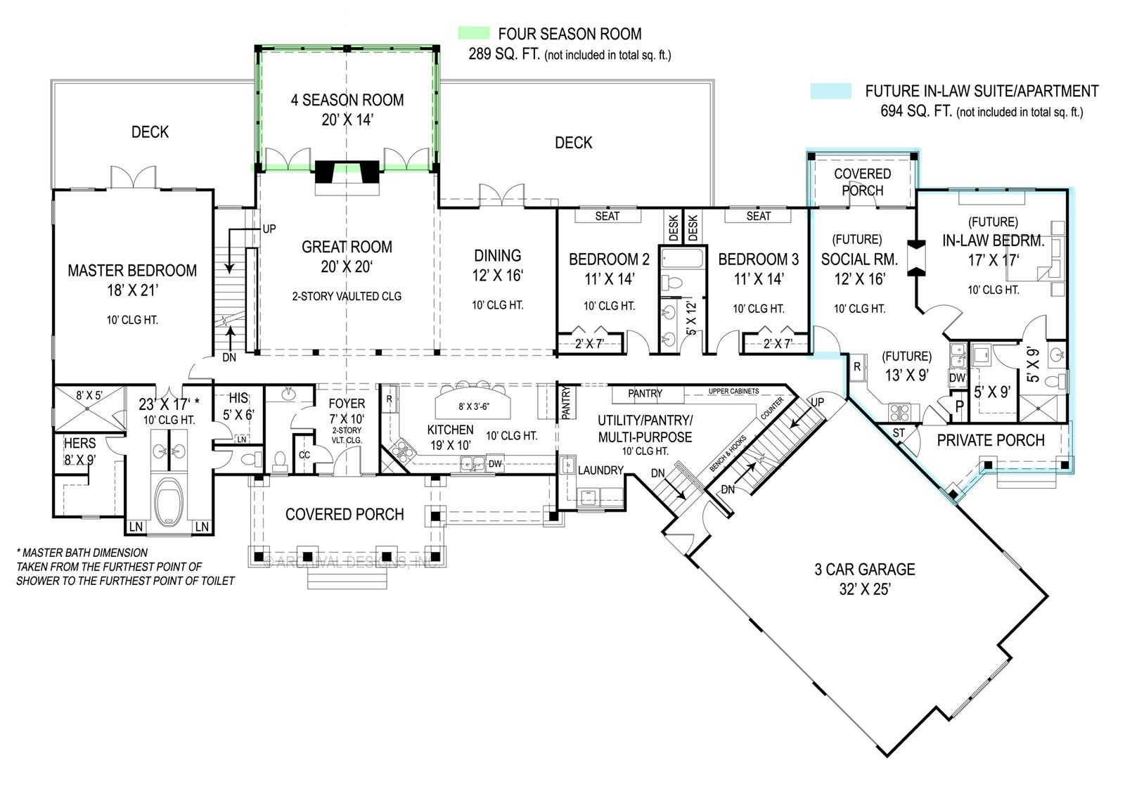 Main level floor plan of a single-story 3-bedroom Pepperwood home with a covered porch, great room, formal dining room, gourmet kitchen, primary suite with a private deck, two bedrooms, utility that leads to an angled garage, and future spaces including a social room and an in-law bedroom.