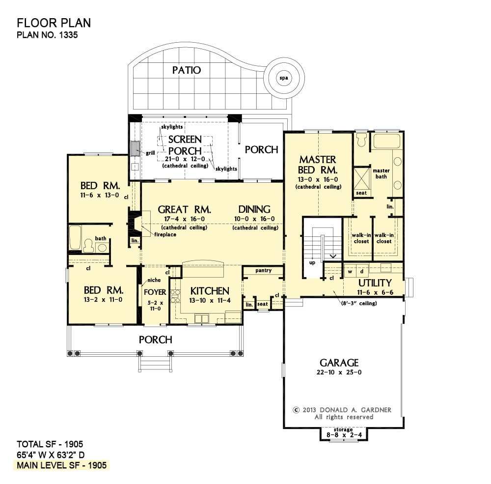 Main level floor plan of a single-story 3-bedroom The Colerain home with great room, dining area, kitchen with pantry, utility, screened porch, and three bedrooms including the primary suite.