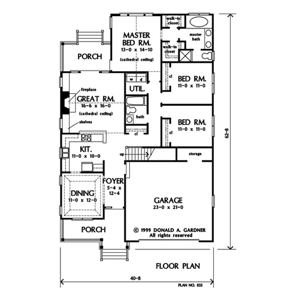 Entire floor plan of a single-story 3-bedroom The Kilpatrick home with a formal dining room, kitchen, three bedrooms, and a great room that opens to the rear porch.
