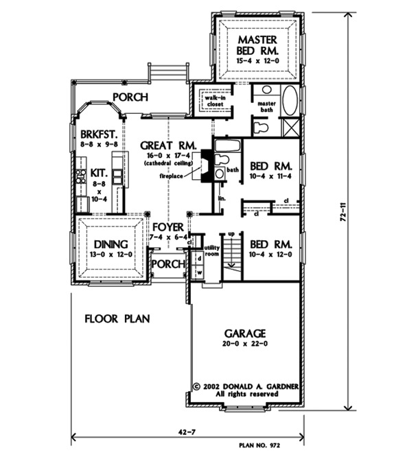 Entire floor plan of a single-story 3-bedroom The Pemberton home with front and back porches, great room, formal dining area, two bedrooms, a primary suite, and a utility room that leads to the garage.