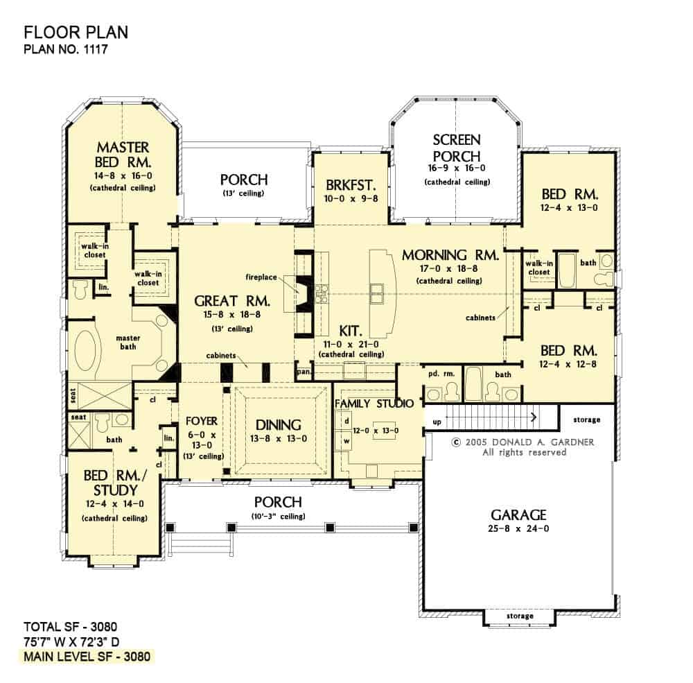 Main level floor plan of a single-story 4-bedroom The Clarkson home with a formal dining room, great room, kitchen with morning room and breakfast nook, screened porch, family studio, and four bedrooms including the primary suite with porch access.