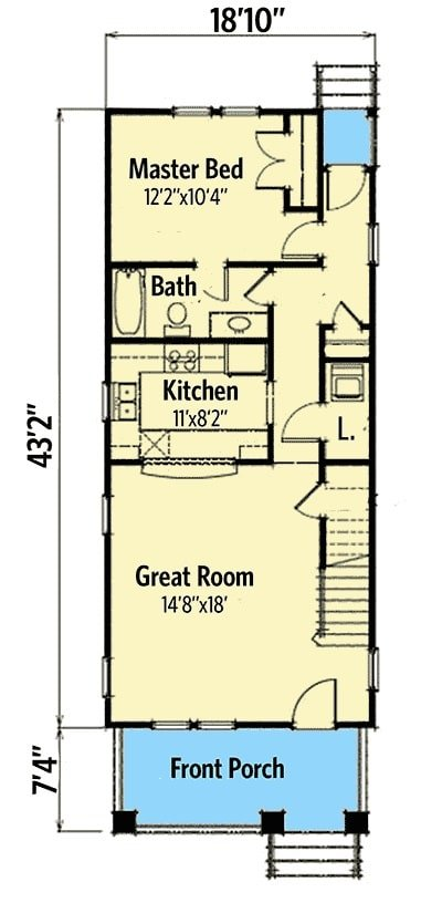 Main level floor plan of a two-story 3-bedroom bungalow with a wide front porch, great room, kitchen, laundry room, and a primary bedroom with a walk-in closet and a cozy ensuite. Second level floor plan with two additional bedrooms sharing a bath. Rear elevation sketch of the two-story 3-bedroom bungalow. Living room with a comfy beige sofa and a TV sitting on a wooden stand. The kitchen is equipped with stainless steel appliances, white cabinets, and a peninsula that acts as a divider to the dining area. The primary bedroom has white framed windows, a cozy gray sit, and an upholstered bed flanked by wooden nightstands and drum table lamps.