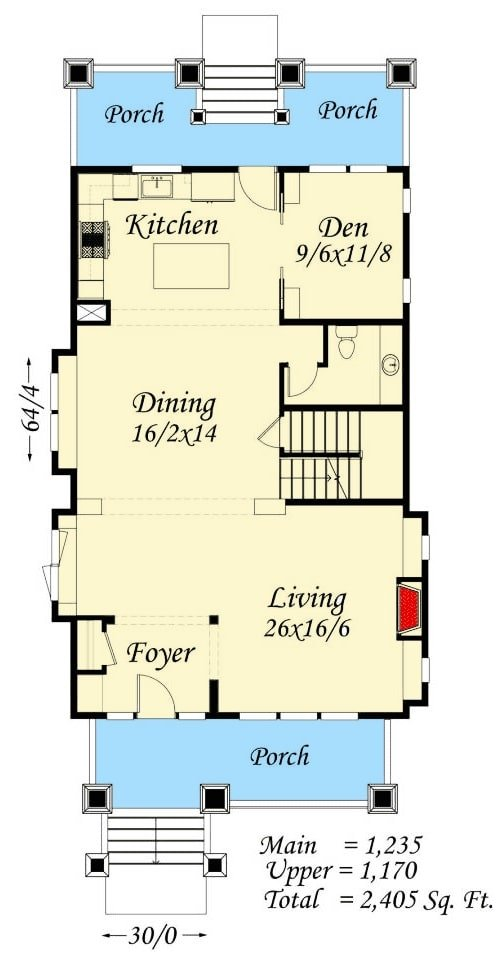 Main level floor plan of a two-story 4-bedroom bungalow home with foyer, living room, dining area, a den, half bath, and a kitchen that opens to the rear porch.