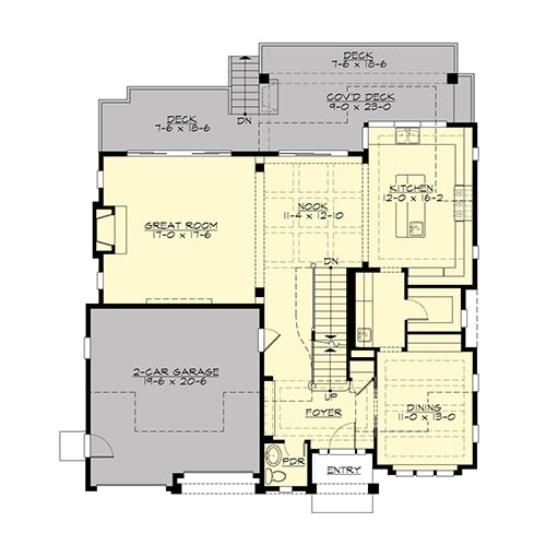 Main level floor plan of a two-story 4-bedroom Gilroy home with a two-car garage, great room, formal dining room, and kitchen with breakfast nook that leads out to the covered deck.