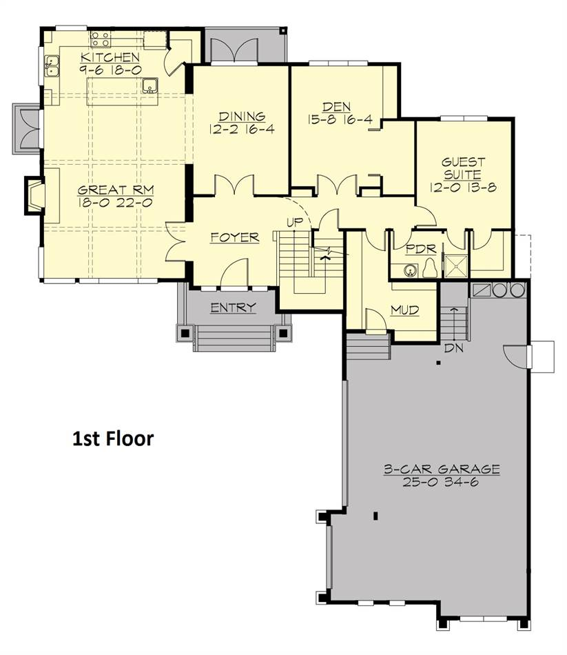 Main level floor plan of a two-story 4-bedroom Highlands craftsman style home with foyer, formal dining room, coffered great room and kitchen, den, guest suite, and a mudroom leading to the 3-car garage.