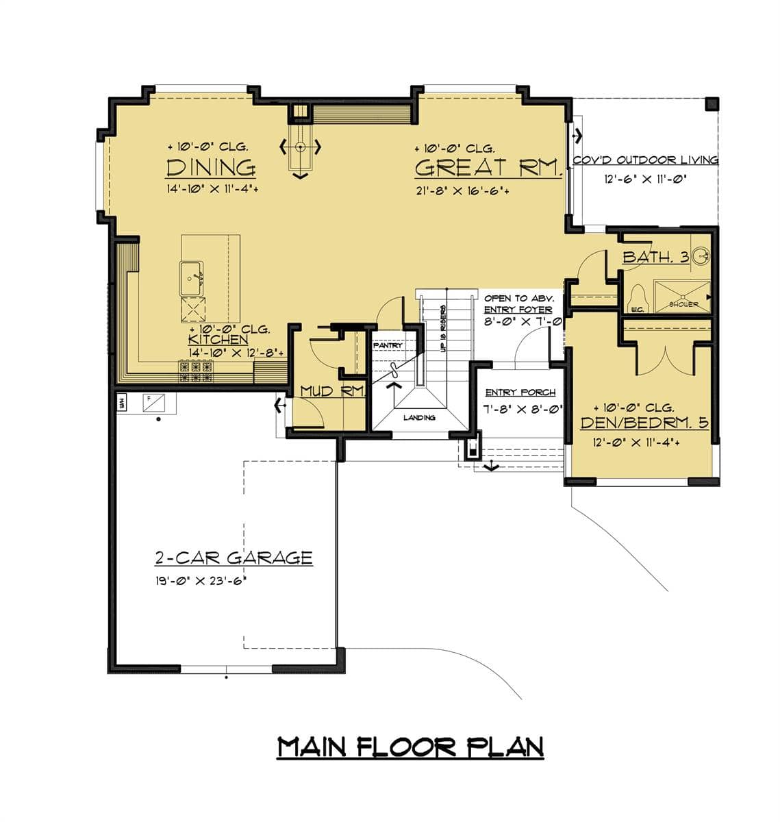 Main level floor plan of a two-story 4-bedroom modern style home with entry porch, great room, shared dining and kitchen, and a versatile den/bedroom.