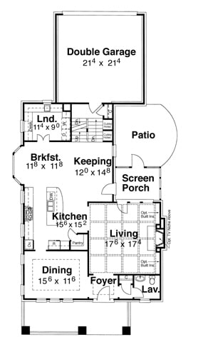 Main level floor plan of a two-story 4-bedroom Stratton home with a double garage, laundry, coffered living room, formal dining room, and kitchen with breakfast nook and keeping room that opens to the screened porch.