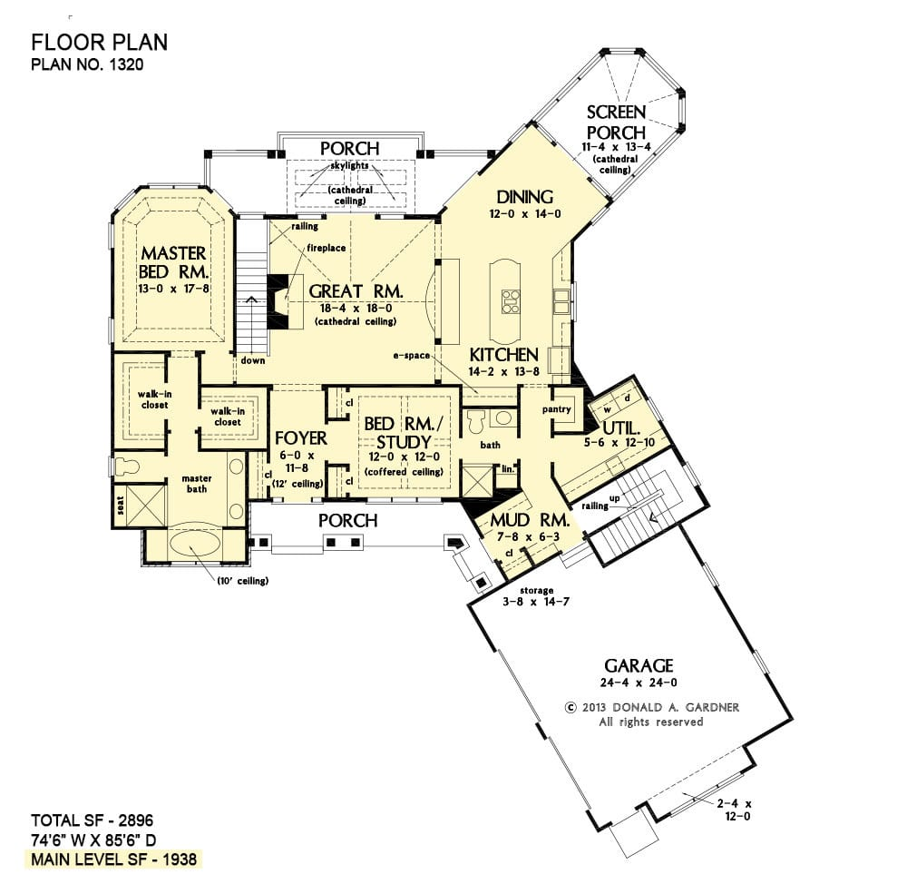Main level floor plan of a two-story 4-bedroom The Butler Ridge home with angled garage, front and rear porches, great room, kitchen, dining room that opens to the screened porch, utility, and two bedrooms including the primary suite and a versatile study.