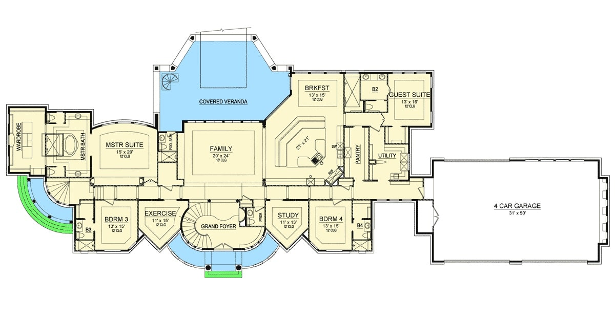 Main level floor plan of a single-story Mediterranean home with a grand foyer, family room, exercise room, study, utility, kitchen with a large pantry, and a breakfast nook that opens to the expansive veranda, and four bedrooms including the primary and guest suites.