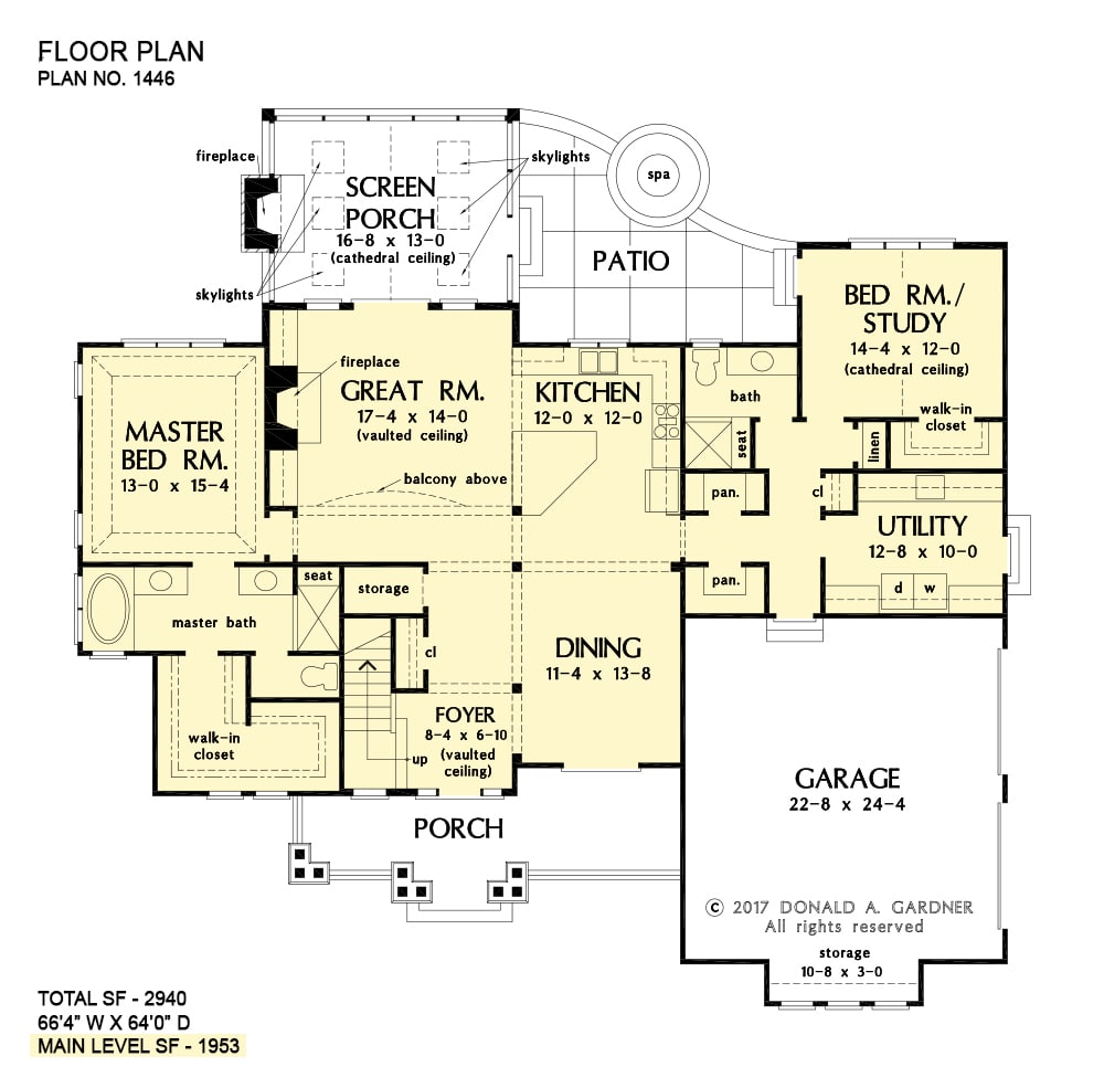 Main level floor plan of a two-story 5-bedroom The Wallace home with front porch, utility, formal dining room, kitchen, great room that opens to the screened porch, primary bedroom, and a versatile study/bedroom.