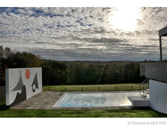 This is a look at the swimming pool from the side of the house. Here you can see the spacious landscaping that surrounds the pool with grass lawns and tall trees in the distance. Image courtesy of Toptenrealestatedeals.com.