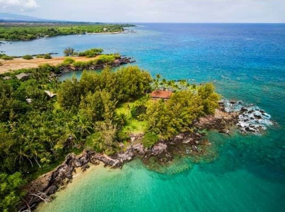 This is an aerial view of the house featuring the thick foliage of tropical trees that gives the house a sense of isolation along with its oceanfront. Image courtesy of Toptenrealestatedeals.com.