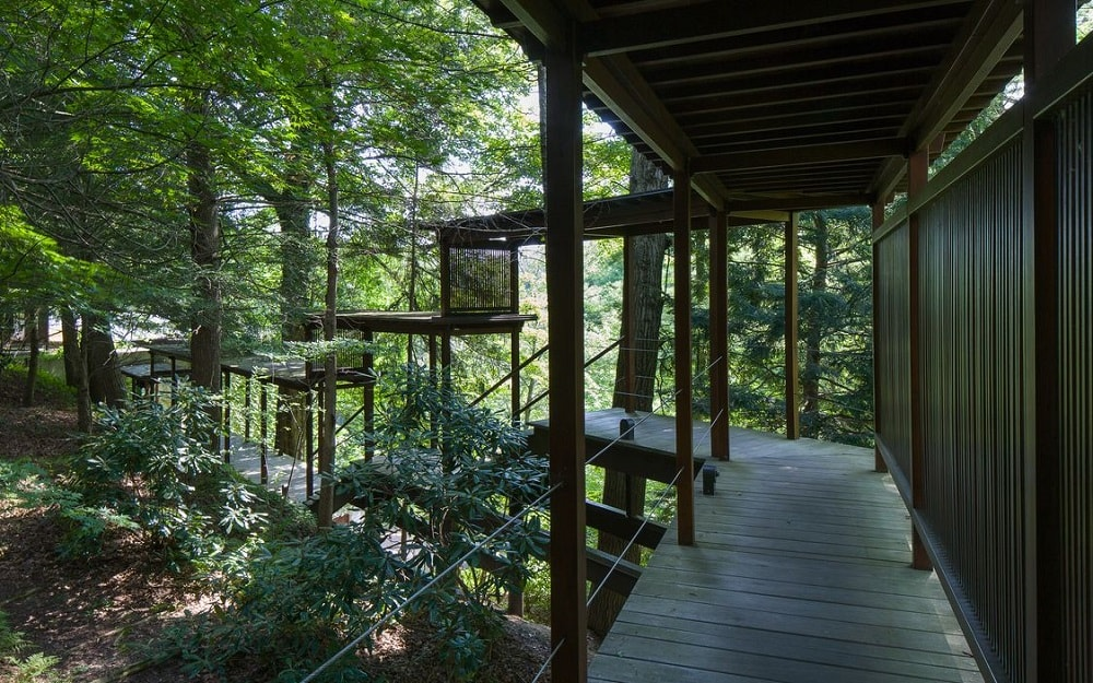 The covered walkway also leads down to the area below the waterfalls. This portion has elevated wooden walkways surrounded by tall trees. Image courtesy of Toptenrealestatedeals.com.