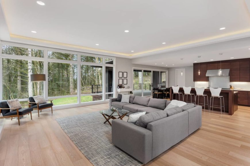 Open concept space with huge sectional sofa