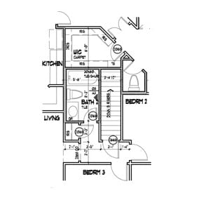 Main level floor plan showing the optional basement stair.