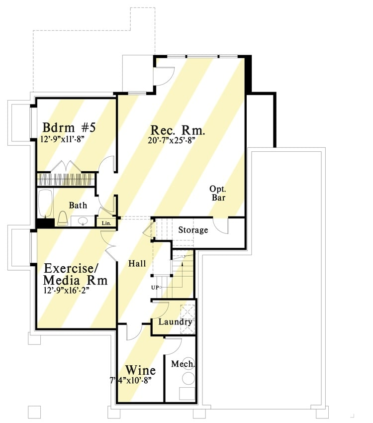 Optional lower level floor plan with wine cellar, exercise/media room, another bedroom, and a recreation room with optional bar.