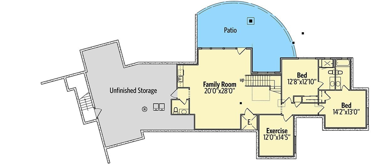 Optional lower level floor plan with two additional bedrooms, an exercise room, and a family room that opens out to the patio.