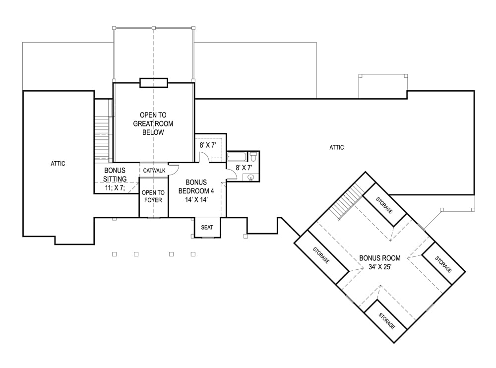 Optional second level floor plan with another bedroom suite, sitting area, and a large bonus room sitting above the garage.