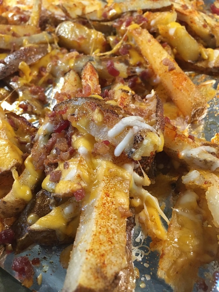 A close look at the freshly-baked potato wedges with toppings.