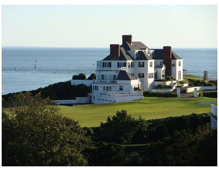 Outside view of her Rhode Island home featuring the house's exterior and the gorgeous landscape surrounding it. Images courtesy of Toptenrealestatedeals.com.