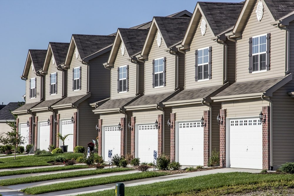 Identical row housing in a subdivision.