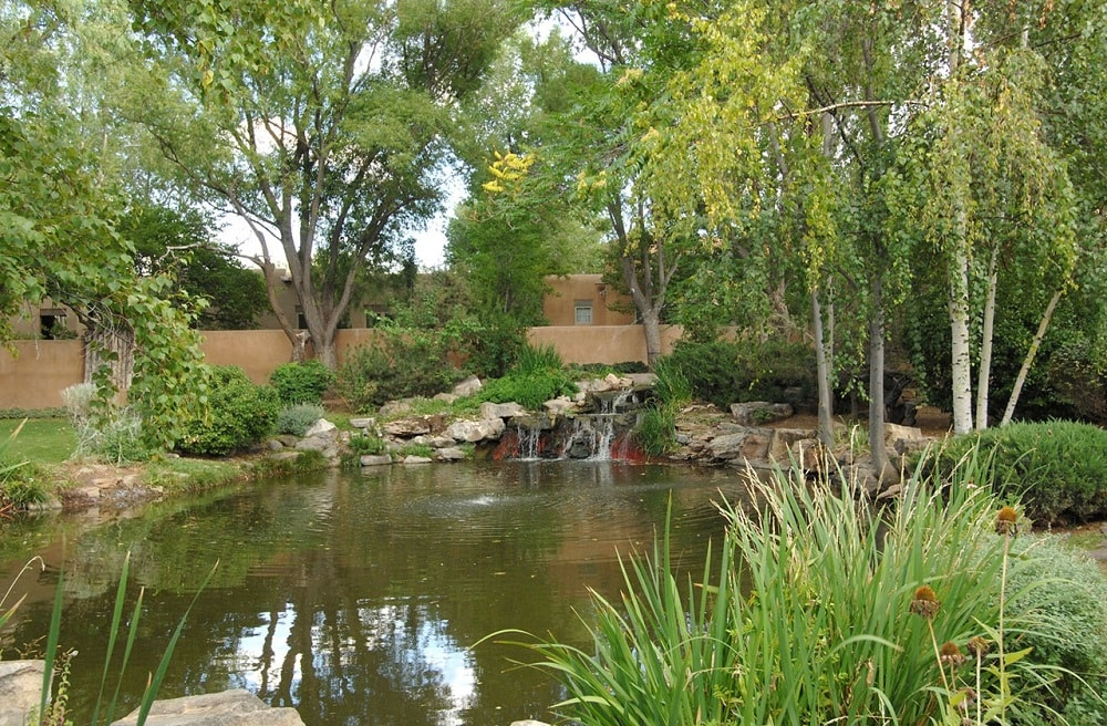 This is a look at the large pond surrounded by landscaping that has decorative rocks, waterfall and tall trees. Image courtesy of Toptenrealestatedeals.com.