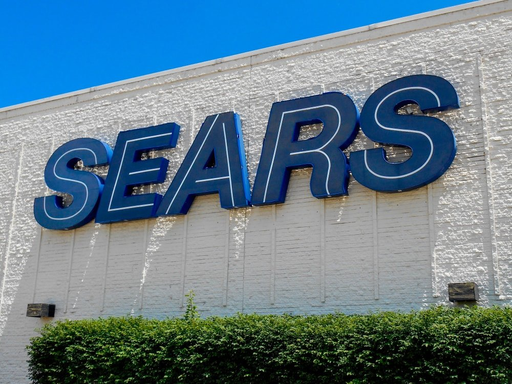 Sears department store signage in Fairview Heights, IL.