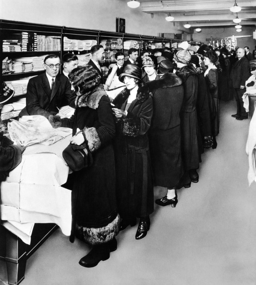 Women shopping in the first Sears retail store in 1925 in Chicago.