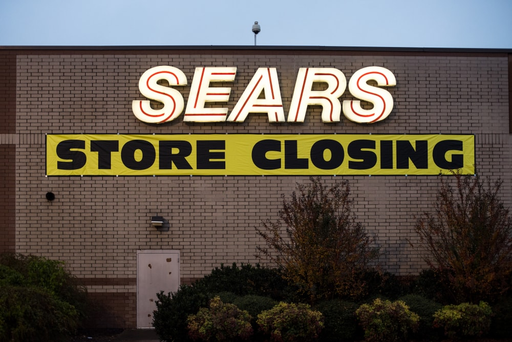 SEARS store closing signage in Chattanooga, Tennessee, USA.