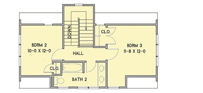 Second level floor plan with a hall and two bedrooms sharing a bath.