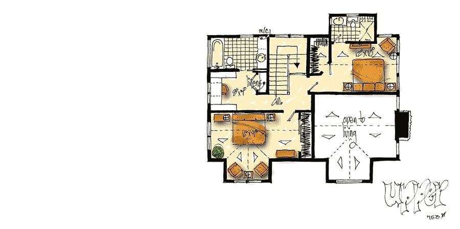 Second level floor plan with two bedrooms, each with their own baths and walk-in closets.