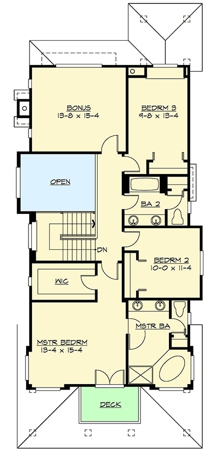 Second level floor plan with bonus room and three bedrooms including the primary suite with a private deck.